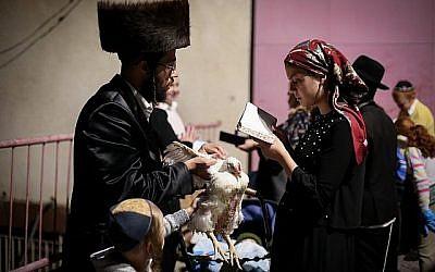 Des juifs ultra-orthodoxes font le rituel du  kaparot à Tzfat, dans le nord d'Israël, le 16 septembre 2018 (Crédit :  David Cohen/Flash90)