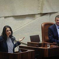 La ministre de la Justice, Ayelet Shaked, lors d'une séance plénière à la Knesset le 17 septembre 2018. (Flash90)