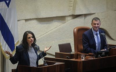 La ministre de la Justice, Ayelet Shaked, lors d'une séance plénière à la Knesset le 17 septembre 2018. (Crédit : Flash90)