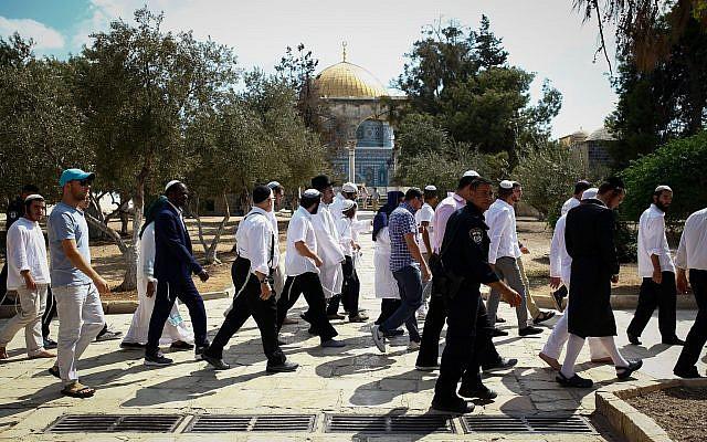 Les forces israéliennes de sécurité escortent un groupe de Juifs religieux lors d'une visite au mont du Temple à Yom Kippour, le 19 septembre 2018 (Crédit : Sliman Khader/Flash90)