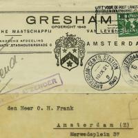 Une lettre cachetée d'une compagnie d'assurances adressée au père d'Anne Frank présentée aux enchères à Amsterdam (Crédit : Maison de vente aux enchères Corinphila via JTA)