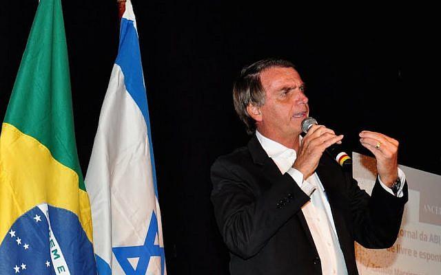 Le président élu du Brésil Jair Bolsonaro (Crédit : Udo Kurt via JTA)