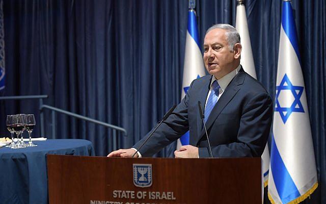 Le Premier ministre Benjamin Netanyahu au ministère des Affaires étrangères le 3 septembre 2018. (Crédit :Amos Ben-Gershom / GPO)