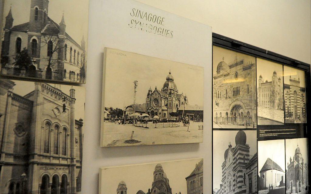 Des photographies de synagogues anciennes de toute l'ex-Yougoslavie sont exposées au Musée historique juif de Belgrade, en juin 2018. (Larry Luxner/Times of Israel)