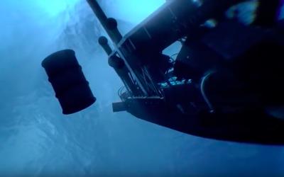 Une animation montrant la naufrage en 1944 du ferry  SF Hydro, qui a été utilisé par les nazis pour transporter des eaux lourdes depuis la Norvège vers l'Allemagne (Capture d'écran :   YouTube.)