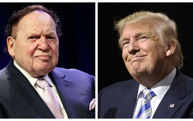 Le magnat du casino Sheldon G. Adelson, à gauche (Crédit :  Steve Mack/Getty Images, via JTA) et le président américain Donald Trump, à droite (Crédit : Spencer Platt/Getty Images/AFP)