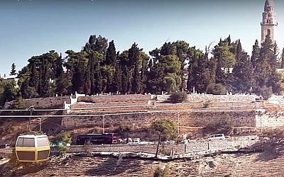 Esquisse d'un téléphérique traversant la vallée de Hinnom à Jérusalem jusqu'au Mont Sion d'après une vidéo promotionnelle téléchargée sur YouTube.