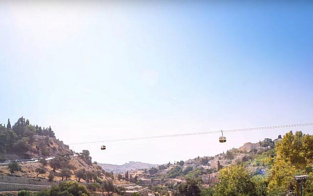 Esquisse d'artiste de la traversée en téléphérique de la vallée du Hinnom à Jérusalem, d'après une vidéo de présentation diffusée sur YouTube.