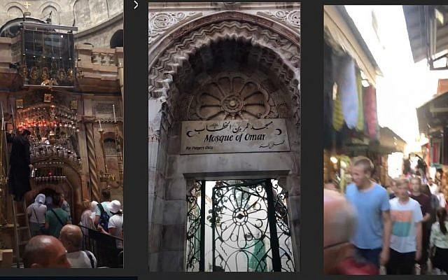 Images des vidéos Instagram du célèbre chef cuisinier Gordon Ramsay lors de sa visite dans la Vieille Ville de Jérusalem, le 20 septembre 2018. (Capture d'écran : Instagram)