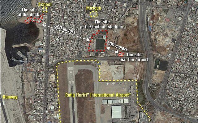 Une image satellite diffusée par l'armée israélienne montrant trois sites près de l'aéroport international de Beyrouth qui, selon l'armée, sont utilisés par le Hezbollah pour convertir des missiles conventionnels en missiles à guidage de précision, le 27 septembre 2018. (Crédit : Armée israélienne)