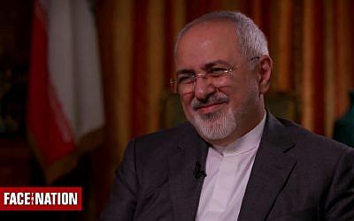 """Le ministre iranien des affaires étrangères Mohammad Javad Zarif à """"Face the nation"""" sur CBS, le 30 septembre 2018 (Capture d'écran : CBS News)"""