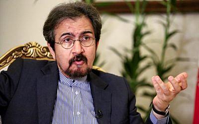 Bahram Ghasemi, ministre iranien des Affaires étrangères, lors d'une interview avec l'AFP dans la capitale de Téhéran, en Iran, le 2 octobre 2018 (Crédit :  / AFP PHOTO / ATTA KENARE)