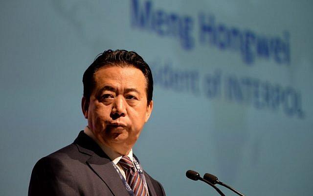 Meng Hongwei chef d'Interpol à Singapour. le 4 octobre 2017. (Crédit : AFP/Roslan Rahman)