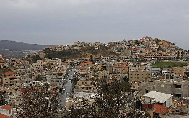 Le village druze de Majdal Shams sur le plateau du Golan, le 21 octobre 2018. (Crédit : JALAA MAREY / AFP)
