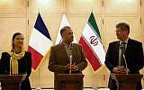 Philippe Bonnecarrere (à droite),président du groupe d'Amitié France-Iran au Sénat français, Kazem Jalali, président du groupe d'Amitié France-Iran au parlement iranien et Delphine O, présidente du groupe d'Amitié France-Iran à l'Assemblée nationale, durant une conférence de presse à Téhéran, le 21 octobre 2018. (Crédit: ATTA KENARE / AFP)