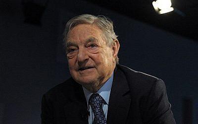 George Soros au Forum économique mondial à Davos, le 26 janvier 2016. (Crédit :Eric Piermont/AFP)