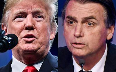 (Montage) A gauche, le président américain Donald Trump, le 8 octobre 201. A gauche, le président-élu brésilien Jair Bolsonaro (Crédits: MANDEL NGAN et ALMEIDA / AFP)