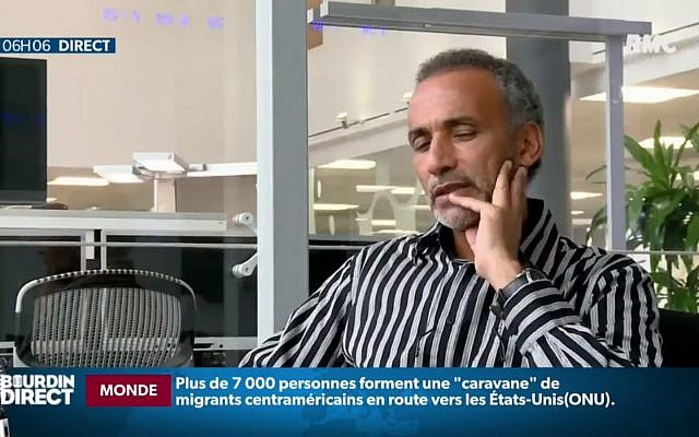 L'islamologue Tariq Ramadan. (Crédit : RMC via YouTube)