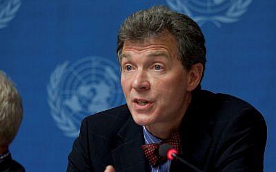 Peter Mulrean participe à une conférence de l'ONU à Genève le 1er octobre 2012. (Mission des États-Unis à Genève)