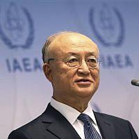 Le directeur général de l'Agence internationale de l'énergie atomique (AIEA), le Japonais Yukiya Amano, s'exprime lors d'une conférence de presse après une réunion du conseil d'administration de l'Agence au centre international de Vienne, en Autriche, le 4 juin 2018 (Crédit :  Ronald Zak/AP)