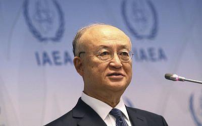 Le directeur général de l'Agence internationale de l'énergie atomique AIEA, le Japonais Yukiya Amano, s'exprime lors d'une conférence de presse après une réunion du conseil d'administration de l'Agence au centre international de Vienne, en Autriche, le 4 juin 2018 (Crédit :  Ronald Zak/AP)