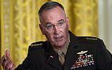 Le général Joseph Dunford, général de l'United States Marine Corps.et chef d'État-Major des armées des États-Unis. durant une réunion du National Space Council à Washington, le 18 juin 2018. (Crédit : AP/Susan Walsh)