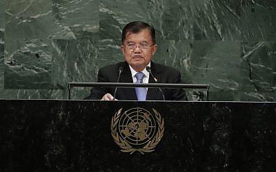 Le vice-président indonésien Jusuf Kalla  lors de la 73ème session de l'Assemblée générale des Nations unies, le 27 septembre 2018, au siège des Nations unies (Crédit : AP Photo/Frank Franklin II)