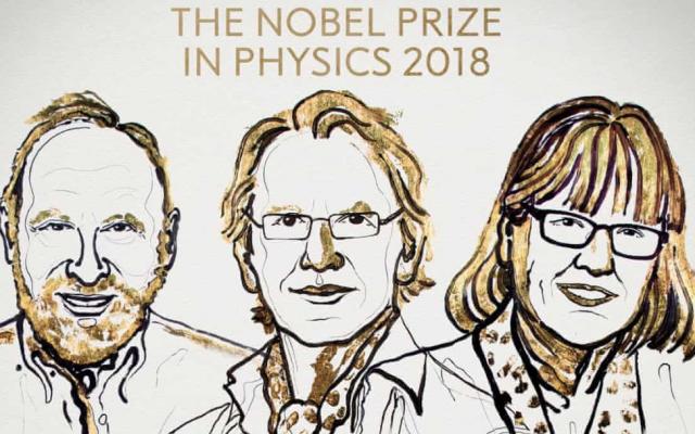 Arthur Ashkin, Gérard Mourou et Donna Strickland, lauréats du prix Nobel de physique en 2018. (Assemblée Nobel)