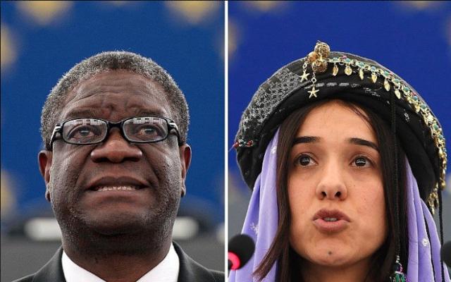 Le gynécologue congolais Denis Mukwege et Nadia Murad, militante de la communauté yazidi en Irak et rescapée de l'esclavage sexuel des djihadistes de l'État islamique , Prix Nobel de la paix 2018 (AFP PHOTO)