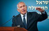 Le Premier ministre Benjamin Netanyahu durant une conférence de presse à la résidence du Premier ministre à Jérusalem, le 9 octobre 2018. (Crédit ! Yonatan Sindel/Flash90)