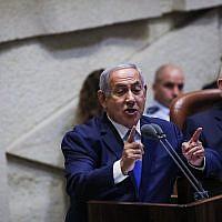 Le Premier ministre Benjamin Netanyahu ouvre la session d'hiver de la Knesset le 15 octobre 2018. (Hadas Parush/Flash90)