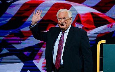 L'ambassadeur des États-Unis en Israël, David Friedman, prend la parole lors de l'Assemblée générale annuelle des Fédérations juives d'Amérique du Nord à Tel Aviv, le 24 octobre 2018. (Crédit : Tomer Neuberg/Flash90)