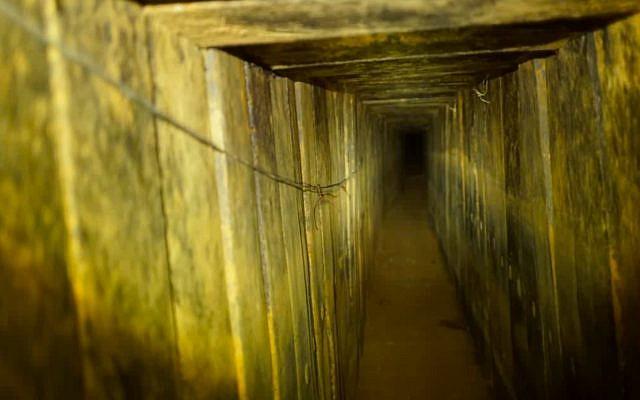 L'intérieur d'un tunnel d'attaque du Hamas qui pénétrait en territoire israélien et qui a été détruit par l'armée israélienne le 11 octobre 2018. (Armée israélienne)