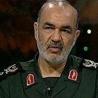 Hossein Salami, commandant des Gardiens de la révolution iraniens. (Crédit : capture d'écran YouTube)