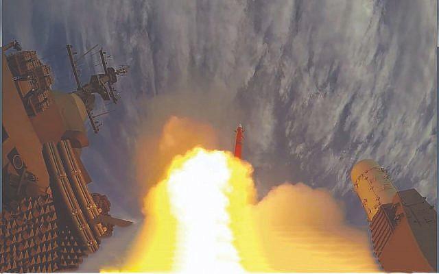 Un missile Barak-8 missile, développé par l'Israel Aerospace Industries, pendant un essai. (Crédit : IAI)