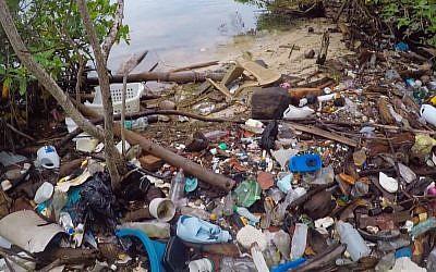 Une plage du Honduras envahie de déchets. (Crédit : capture d'écran Youtube)