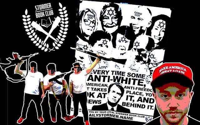Les clubs de lecture du Stormer ont revendiqué les prospectus antisémites qui sont apparus dans tout le pays, la semaine dernière (Crédit : Anti-Defamation League/JTA Collage)