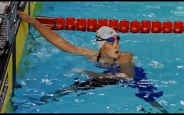 Anastasia Gorbenko, 15 ans, médaillée d'or au 22 mètres 4 nages des Jeux Olympiques pour la Jeunesse à Buenos Aires, le 7 octobre 2018. (Crédit : capture d'écran YouTube)