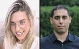 Kim Levengrond Yehezkel, 29 ans (à gauche) et Ziv Hajbi, 35 ans, tués dans un attentat terroriste dans la zone industrielle Barkan en Cisjordanie, le 7 octobre 2018 (Crédit : capture d'écran Facebook)