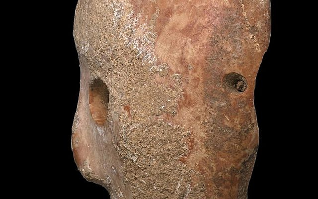 Vue de côté d'un masque en pierre de 9000 ans découvert dans le sud des collines de Hébron, en Cisjordanie, début 2018 (Crédit : Clara Amit, Autorité israélienne des antiquités)