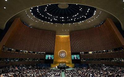 À titre d'illustration : le Secrétaire général de l'ONU, Antonio Guterres, prend la parole devant la 73e Assemblée générale des Nations Unies, le 25 septembre 2018 à New York. (Crédit : AFP / Timothy A. Clary)