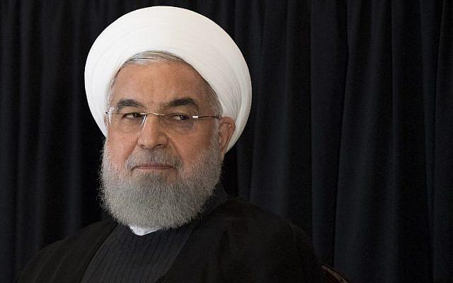 Le président iranien Hassan Rouhani prend la parole lors d'une conférence de presse à New York le 26 septembre 2018, en marge de l'Assemblée générale des Nations unies. (Crédit : AFP / Jim WATSON)