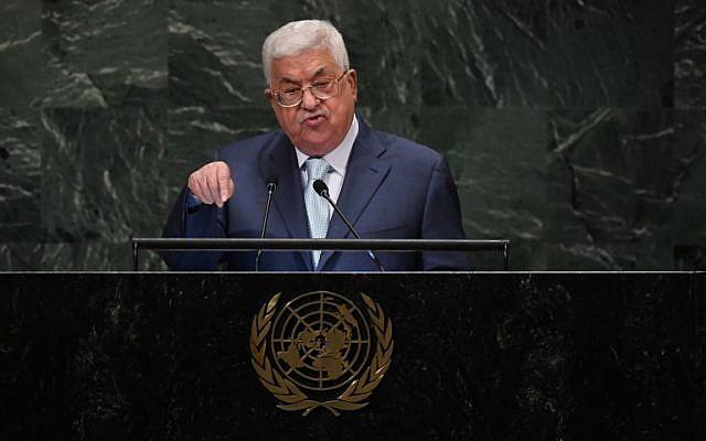 Le Président de l'Autorité palestinienne, Mahmoud Abbas, s'adresse à l'Assemblée générale des Nations Unies à New York le 27 septembre 2018. (TIMOTHY A. CLARY/AFP)