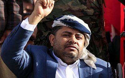 Mohammed Ali al-Houthi, chef du Haut comité révolutionnaire et important responsable politique des rebelles Houthis, le 20 septembre 2018. (Crédit : MOHAMMED HUWAIS / AFP)