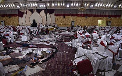 Une salle des fêtes de Kaboul, au lendemain d'un attentat suicide qui a fait une cinquantaine de morts, le 21 novembre 2018. (Crédit : WAKIL KOHSAR / AFP)