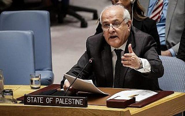 L'ambassadeur palestinien auprès des Nations Unies Riyad Mansour s'exprime lors d'une réunion du Conseil de sécurité des Nations Unies sur la violence à la frontière entre Israël et la bande de Gaza, au siège des Nations Unies, le 15 mai 2018 à New York. (Drew Angererer/Getty Images/AFP)