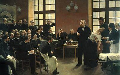 André Brouillet. Une leçon clinique à la Salpêtrière, 1887 Huile sur toile, 300 x 425 cm (Crédit : Domaine public / CNAP / photo Musée d'histoire de la médecine)