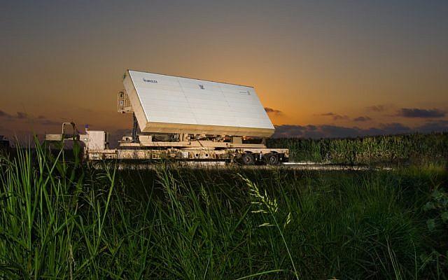 Le système de radar Green Pine dELTA Systems Ltd., une filiale de l'Israel Aerospace Industries. (Crédit : ELTA Systems Ltd.)