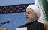 Sur cette photo publiée sur le site officiel du bureau de la présidence iranienne, le président Hassan Rouhani assiste à une conférence annuelle sur l'unité islamique à Téhéran, Iran, le 24 novembre 2018. (Crédit : bureau de la présidence iranienne via AP)