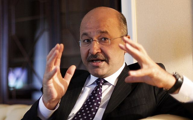 Barham Saleh, le 29 mars 2010. (Crédit :. (AP Photo/Hadi Mizban)
